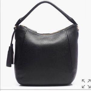 J Crew Peyton hobo pebbled black leather bag.
